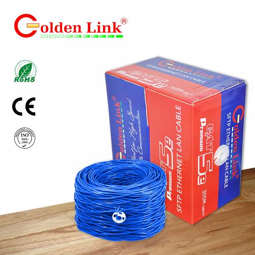 CÁP MẠNG GOLDEN LINK- 4 pair SFTP Cat5e 100m xanh dương chống nhiễu