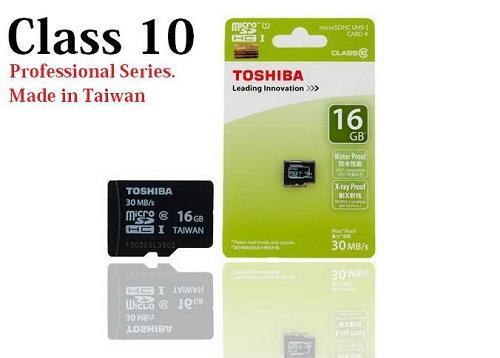 Thẻ nhớ Micro SD Toshiba 16G bảo hành 3 năm BOX  xanh thẻ nhỏ(C10)