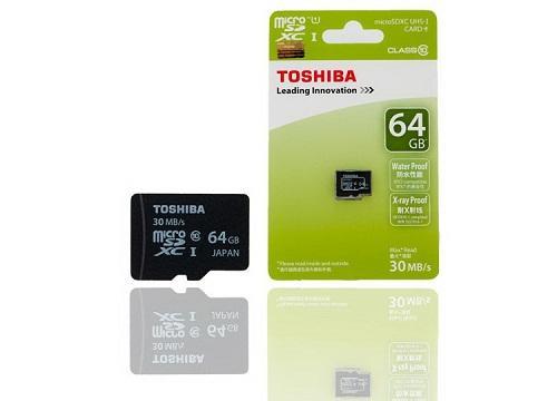 Thẻ nhớ Micro SD Toshiba 64G bảo hành 3 năm BOX  xanh thẻ nhỏ(C10) 100M