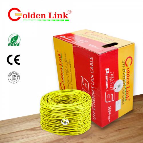 CÁP MẠNG GOLDEN LINK -  4 pair UTP Cat6 305m  vàng taiwan