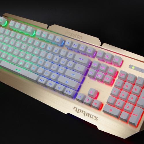 Combo Bàn phím & Chuột máy tính Bosston R300W GOLD Giả cơ LED