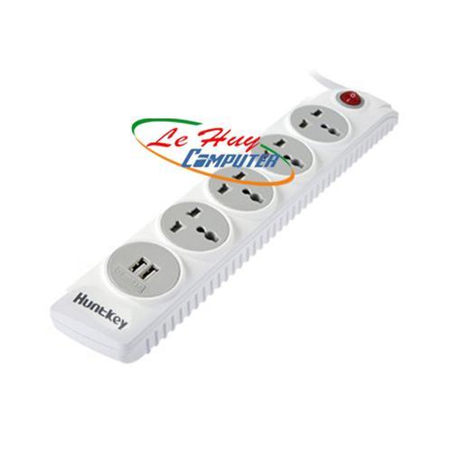 Ổ CẮM ĐIỆN HUNTKEY SZM507(2m) 4ỗ đa năng + 2 USB -CHỐNG SÉT
