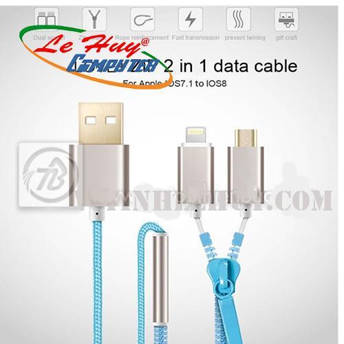 Cáp dữ liệu Coolcold - dây kéo 2 đầu ngắn (IP 5/6- V8)