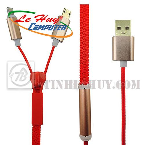 Cáp dữ liệu Coolcold - dây kéo 2 đầu dài 1m (IP 5/6- V8)