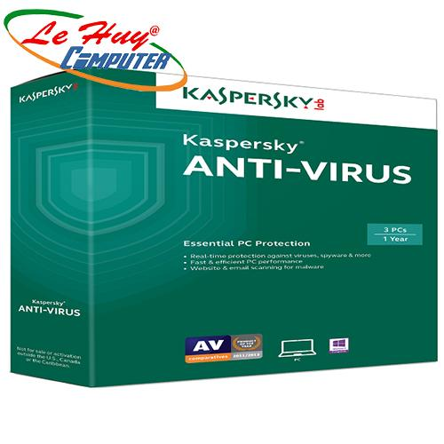 Phần mềm diệt virus Kapersky Anti  Virus  3PC /12T    box NTS  2018