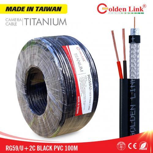 Cáp Camera Goldenlink RG59/U+2C MADE IN TAIWAN 100M (có dây nguồn)