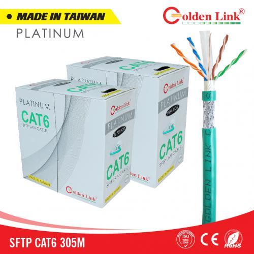 CÁP MẠNG GOLDENLINK - 100m CAT6 SFTP Chống nhiễu PLATINUM MADE IN TAIWAN(xanh lá, 100m)