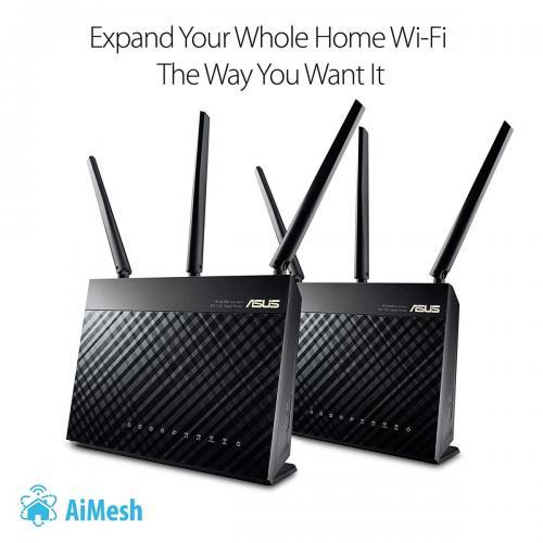 Thiết bị mạng - Router Asus RT-AC68U Giải pháp AiMesh phủ sóng Wi-Fi toàn khu vực với tốc độ AC1900 (Bộ 2 chiếc)