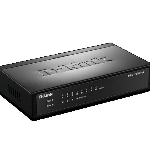 Thiết bị chuyển mạch Switch D-Link 8 Port 10/100Mbps, có 4 Port PoE DES-1008PA