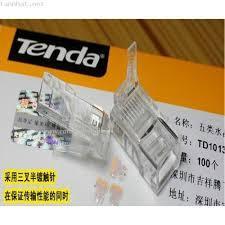 Đầu bấm dây mạng RJ45 Tenda Cat6e UTP TEH60510 mạ vàng 24K, chống nhiễu, chống cháy nổ ( 100c/ hộp )
