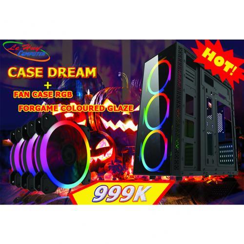 Vỏ máy tính Dream + combo 3 fan TẢN NHIỆT RGB FORGAME COLOURED GLAZE (KÈM ĐIỀU KHIỂN)