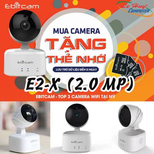 Camera IP EBITCAM E2-X (2.0 MP) Wifi hồng ngoại Megapixel (Tặng kèm thẻ nhớ 32GB)