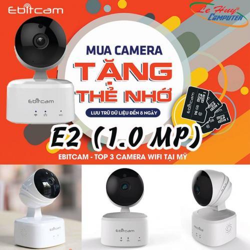 Camera IP EBITCAM E2 (1.0 MP) Wifi hồng ngoại Megapixel (Tặng kèm thẻ nhớ 16GB)