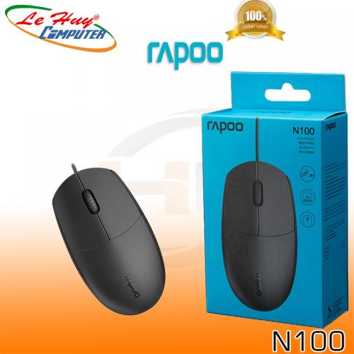 Chuột máy tính Rapoo N100 - Đen - Hàng Chính Hãng
