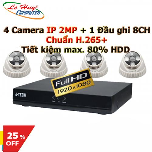 Combo Camera chuẩn H.265+ với 4 Camera HD3206B0 IP 2MP & 1 Đầu ghi HD2008