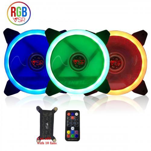 Fan Case LED RGB Gồm 3 Fan + Remote + Húp 10 Chân Cắm Fan