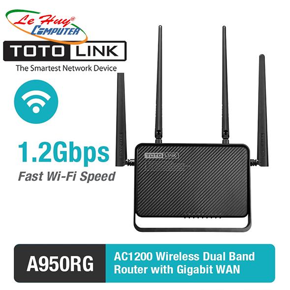 Thiết bị mạng - Router Totolink Băng Tầng Kép AC1200  A950RG - Hàng Chính Hãng
