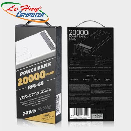 PIN DỰ PHÒNG 20.000mah-CH REMAX RPL-58 TRẮNG