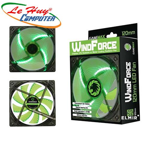 Fan Case LED GMX-WF12G (12CM Green 4xLED /3pin+4Pin Connector / 9 blade+Retail box)
