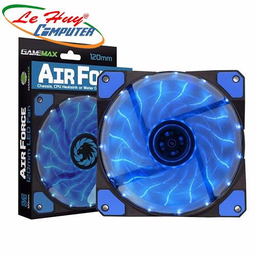 Fan Case LED GMX-AF12B  (12CM Blue 15xLED /PVC with Black shield 3pin+4Pin Connector /rubber gasket/9 blade+Retail box)