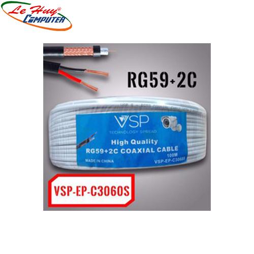 Cáp đồng trục Camera TRẮNG VSP C3060S 100M RG59+2C CÓ DÂY ĐIỆN