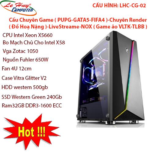 Máy Tính Bộ ĐỒ HỌA LHC-CG-02,Main gaming X58,CPU intel xeon X5560,vga Zotac 1050/2gb,Nguồn fuler 650w,Fan T400i,Case Vitra glitter v2,HDD Western green 500gb,SDD Western green 240gb,Ram 32gb ddr3 - 1600ecc,Fan U 12cm