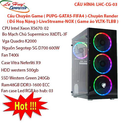 Máy Tính Bộ ĐỒ HỌA LHC-CG-03,Main supermicro X8DTL-3F,CPU intel xeon X5670: 02con,vga quadro k2000,Nguồn Segotep SG d700 600w,Fan T400i,Case vittar Neferliti X9,HDD Western green 500gb,SDD Western green 240gb,Ram 48gb ddr3 - 1600ecc,Fan Case led RGB