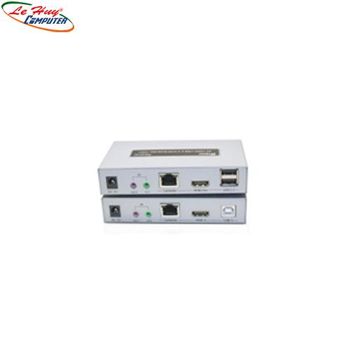 Hộp nối dài HDMI (100m)-> Lan+USB Dtech (DT7051)4K