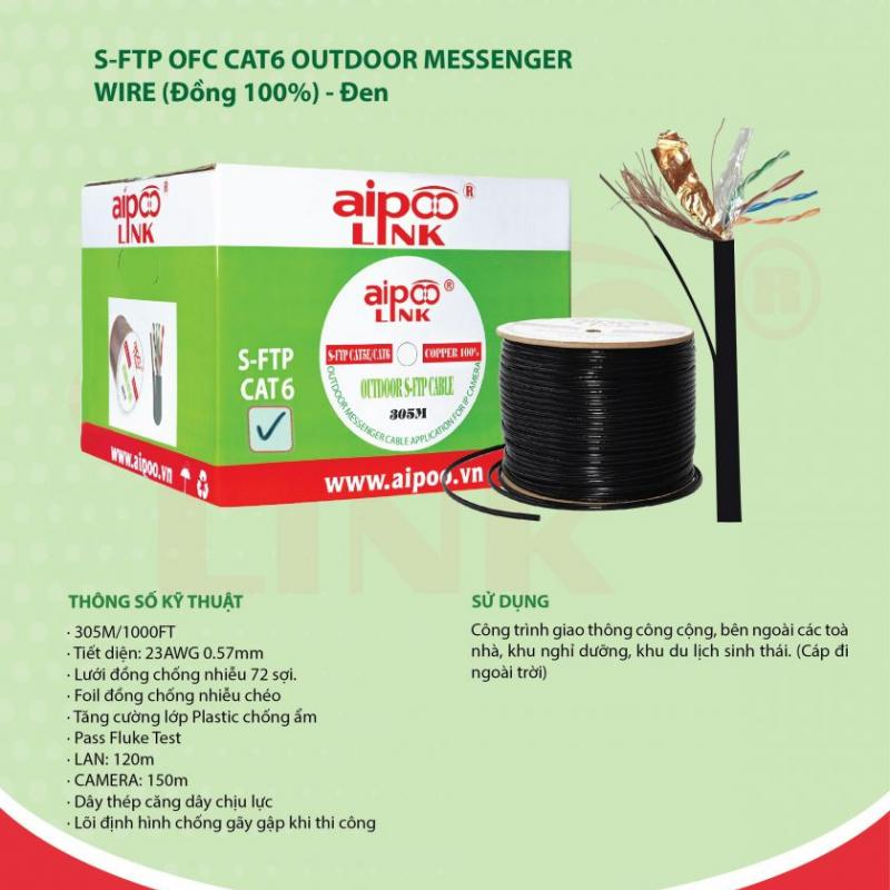 CÁP MẠNG Aipoolink S-FTP OFC CAT6 OUTDOOR MESSENGER WIRE - Cáp ngoài trời Đồng 100% - Đen