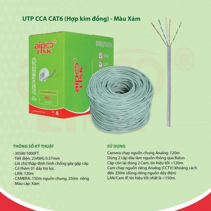 CÁP MẠNG  Aipoolink  UTP CCA CAT6- 305M (Hợp kim đồng nhôm) - Xám
