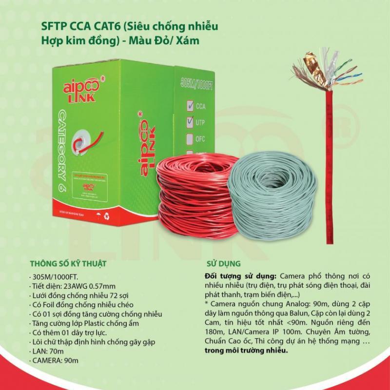 CÁP MẠNG  Aipoolink  S-FTP CCA CAT6 - 305M (Siêu chống nhiễu Hợp kim đồng nhôm) - Đỏ/Xám