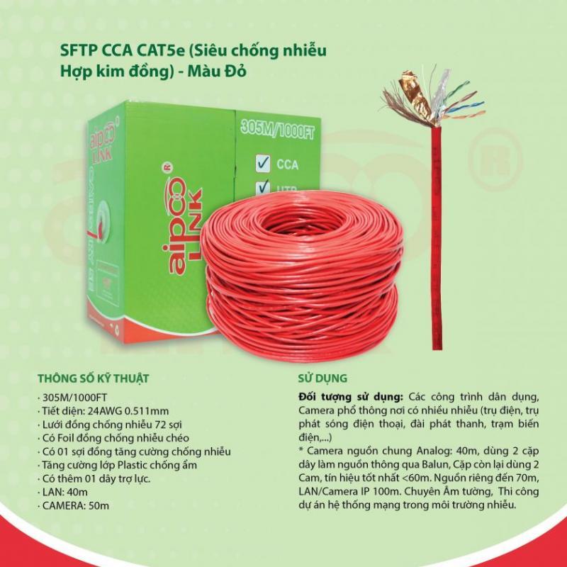 CÁP MẠNG  Aipoolink CAT5E SFTP CCA - 305M (Siêu chống nhiễu Hợp kim đồng nhôm) - Đỏ