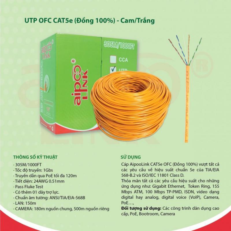 CÁP MẠNG  Aipoolink  CAT5E UTP OFC - 305M  (Đồng 100%) - Cam/Trắng