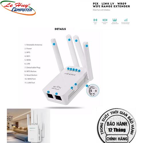 Kích Sóng Wifi Pix-Link LV-WR09 (4 Anten) -Chính Hãng