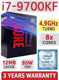 CPU Intel Core i7 9700KF(3.6GHz turbo up to 4.9GHz, 8 nhân 8 luồng, 12MB Cache, 95W) box chính hãng