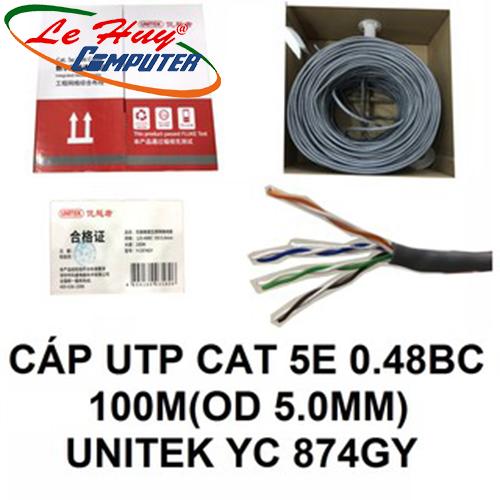 Cable UTP Cat 5E 0.48BC 100M OD 5.0MM Unitek Y-C 874GY
