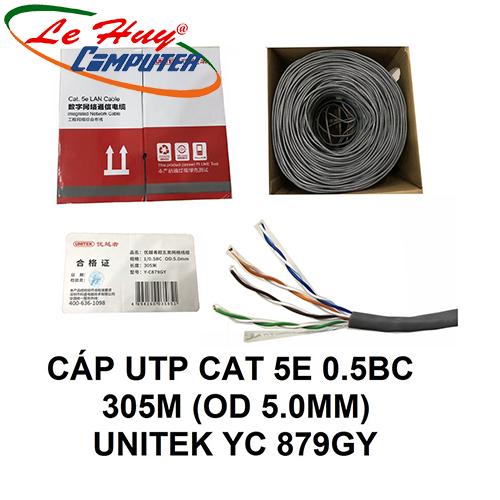 CÁP UTP CAT 5E 0.5BC OD5.0MM 305M UNITEK (Y-C 879GY)