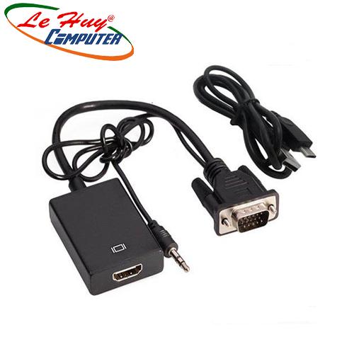 Cáp chuyển đổi tín hiệu từ VGA sang HDMI có âm thanh + Cáp Micro USB cấp nguồn