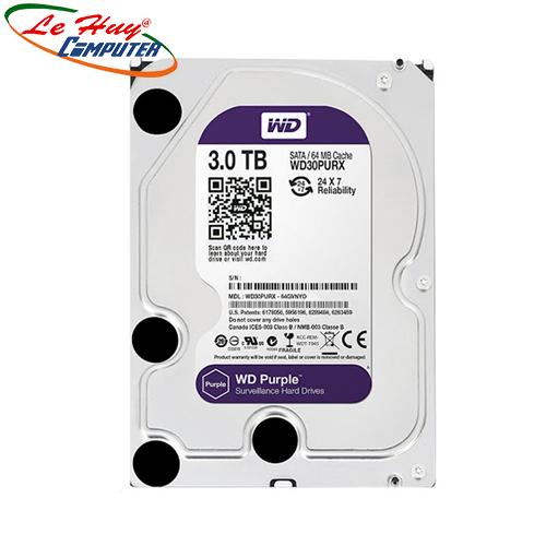 Ổ Cứng HDD Western Purple AV 3TB TÍM (WD30PURZ) 3.5