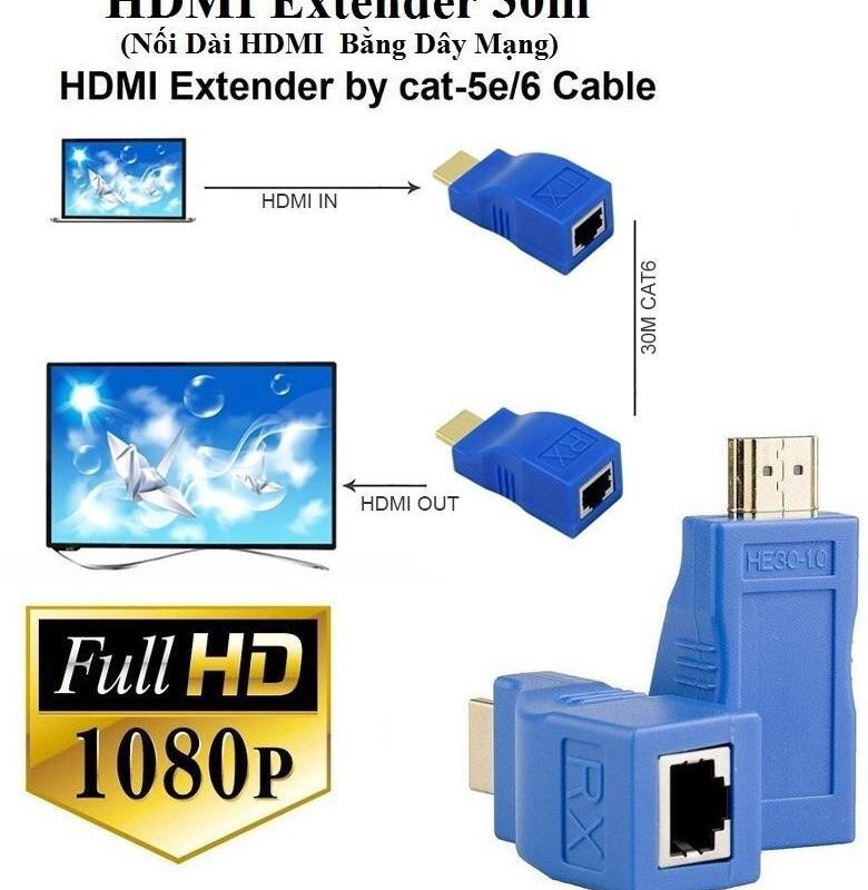 HD Extender 30M (Nối Dài HDMI bằng Dây LAN )