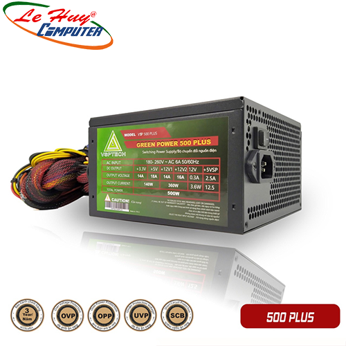 Nguồn máy tính VSP Green Power 500 Plus 500W + Dây Nguồn