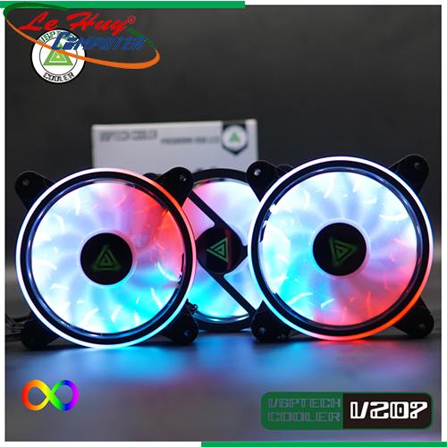 Bộ Kit 3 Fan VSPTECH V207 LED ARGB(12cm)-( 01 Hộp có 3 Fan / Hub / Remote )