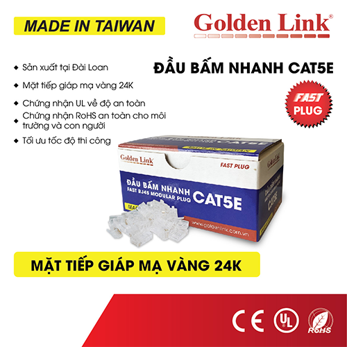 Đầu bấm mạng Nhanh(xuyên thấu) CAT5E Golden Link TAIWAN GL-20055E