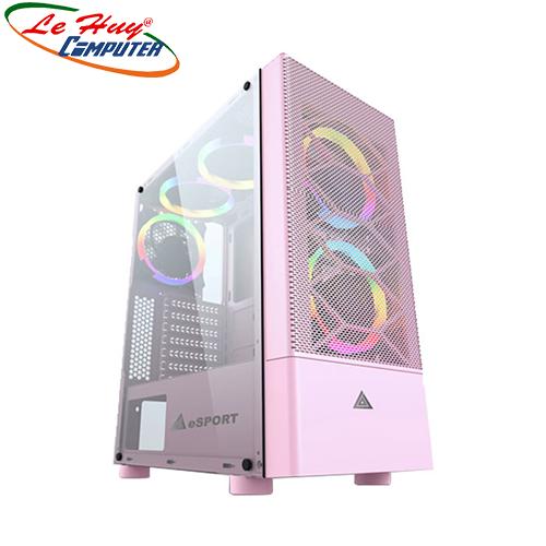 Vỏ máy tính VSP Gaming B86P Pink (No Fan) HỒNG(mặt lưới)
