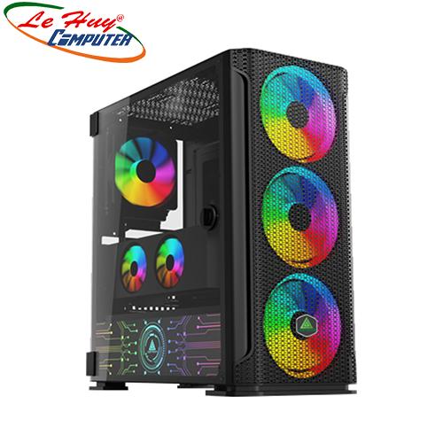 Vỏ máy tính VSP FA-404B Gaming (Có Sẵn 4 Fan LED RGB/ LED Cover Nguồn)