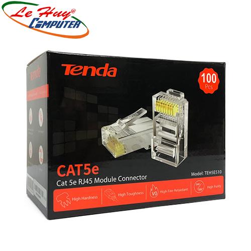 Đầu bấm dây mạng RJ45 Tenda Cat5e UTP TEH5E510 mạ vàng 24K, chống nhiễu, chống cháy nổ ( 100c/ hộp)