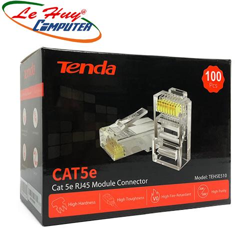 Đầu bấm dây mạng RJ45 Tenda Cat5e UTP TEH5E510 mạ vàng 24K chống nhiễu chống cháy nổ (100c/hộp)