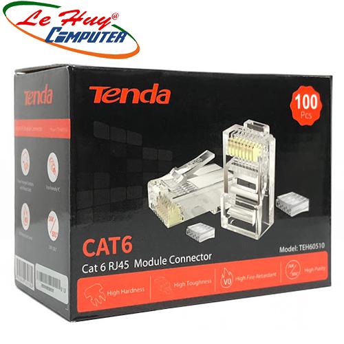 Đầu bấm dây mạng RJ45 Tenda Cat6e UTP TEH60510 mạ vàng 24K chống nhiễu chống cháy nổ (100c/hộp)