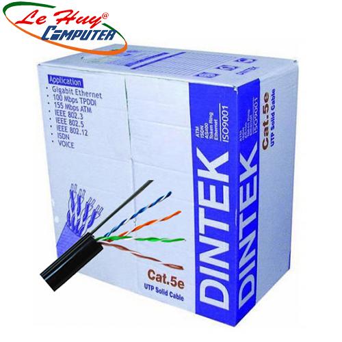 Cable Dintek ngoài trời(OUTDOOR)- Dintek CAT.5e UTP, 305M, thép gia cường dùng treo móc.