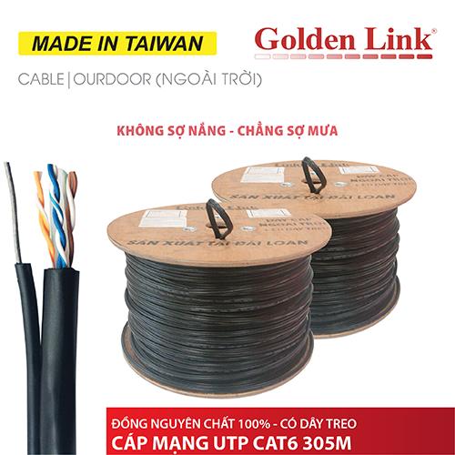 CÁP MẠNG GOLDEN LINK - 305m UTP CAT6 đồng nguyên chất có dây thép treo ngoài trời MADE IN TAIWAN